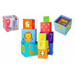 Obrázek Kubus pyramida skládanka hranatá karton 10ks v krabici 16,5x16,5x16,5cm 18m+