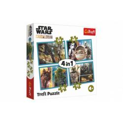Obrázek Puzzle 4v1 Mandalorian a jeho svět/Star Wars v krabici 28x28x6cm