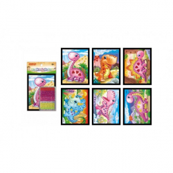 Obrázek Mozaika obrázok mini dinosaurus trblietavý 10x12cm mix druhov 24ks v boxe