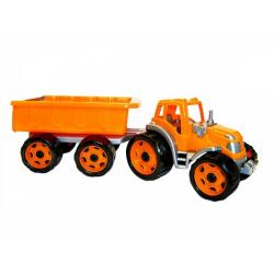 Obrázek Traktor s vlekem plast 53cm na volný chod 2 barvy v síťce