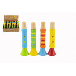 Obrázek Píšťalka dřevěná barevná 12 cm 4 barvy 24ks v boxu 18m+