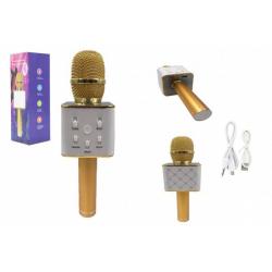 Obrázek Mikrofon karaoke kov 25cm nabíjení přes USB zlatý v krabici