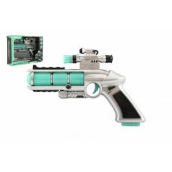 Obrázek Pistole se zaměřovačem plast 20cm na baterie se zvukem a se světlem v krabici
