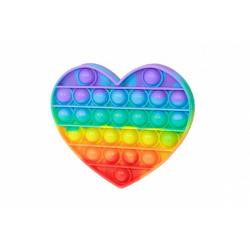 Obrázek Bubble pops - Praskající bubliny silikon antistresová spol. hra srdce duha 13x11cm v sáčku