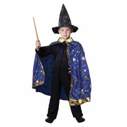 Obrázek Dětský kouzelnický modrý plášť s hvězdami čarodějnice / Halloween