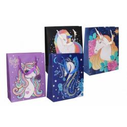 Obrázek Dárková taška dětská s jednorožcem mix barev 26x10x32cm
