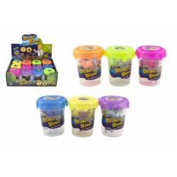 Obrázek Výroba slizu/hmoty mini sada se třpytkami vědecká hra 6 barev v plastové dóze 5,5x7cm 12ks v boxu