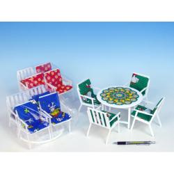 Obrázek Nábytok pre bábiky stôl + 4 stoličky so sedákmi - 4 farby