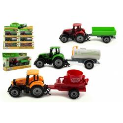 Obrázek Traktor s přívěsem plast/kov 19cm 3 druhy na volný chod v krabičce 25x13x5,5cm 12ks v boxu