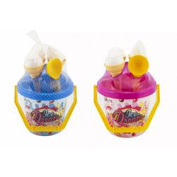 Obrázek Sada na písek plast kbelík + formičky zmrzlina 2 barvy v síťce 18x28x17cm 12m+