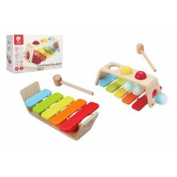 Obrázek Zatloukačka/Xylofon 2v1 dřevo 29x18cm s kladívkem s koulemi v krabici 30x19x11cm 12m+