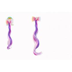 Obrázek Spona do vlasů mašle s jednorožcem s duhovým příčeskem kov/plast 7x30cm v sáčku