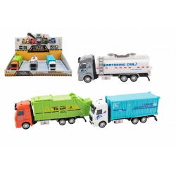 Obrázek Kamion kov/plast 20-23cm na zpětné natažení 3 druhy 6ks v boxu