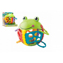 Obrázek Chrastítko žabka plast s kroužky v krabičce 17x19x15cm 6m+