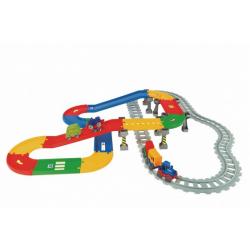 Obrázek Play Tracks - vlak s kolejemi plast 5ks autíček,délka dráhy 6,3m s doplňky v krabici 80x53x14cm 12m+