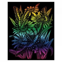 Obrázek Škrabací obrázek- Duhový- Motýlci