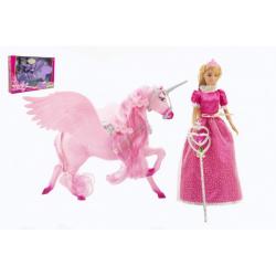 Obrázek Panenka Anlily princezna kloubová 30cm plast s jednorožcem 40cm s hůlkou 2 barvy v krabici 48x33x9cm