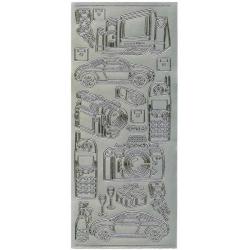 Obrázek Obrysové samolepky- Telefon, auto, fotoaparat- stříbrné