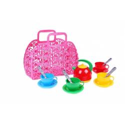 Obrázek Sada nádobí plast 3 barvy v plastové tašce/kabelce 25x22x11 cm