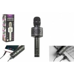 Obrázek Mikrofon Karaoke Bluetooth černý na baterie s USB kabelem v krabici 10x28x8,5cm