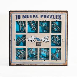 Obrázek Sada 10 hlavolamů kov modrá