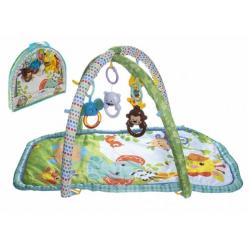 Obrázek Hrací podložka/Hrazda pro děti s chrastítky látka/plast v plastové tašce 50x45x7cm 0m+
