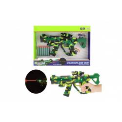 Obrázek Pistole na pěnové náboje s laserem plast 32cm na baterie se světlem a se zvukem v krabici 38x27x5cm