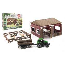 Obrázek Sada domácí farma plast se zvířátky s traktorem 51ks v krabici 45x29x5,5cm