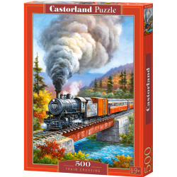 Obrázek Puzzle Castorland 500 dílků - Vlak přejíždějící řeku (kreslený)