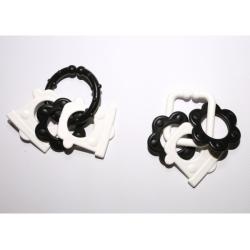 Obrázek Řetěz/zábrana tvary černobílé plast 6cm 15ks v krabičce 12,5x16cm 0m+