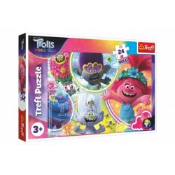 Obrázek Puzzle maxi 24 dílků Hudební svět Trollů/Trolls world tour 60x40cm v krabici 40x27x4,5cm