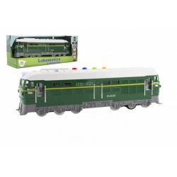 Obrázek Lokomotiva/Vlak zelená plast 35cm na baterie se zvukem se světlem v krabici 41x16x12cm