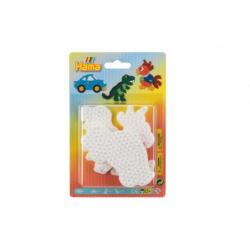 Obrázek Podložka na zažehlovací korálky auto,papoušek,dinosaurus plast 3ks na kartě 12x18x3cm