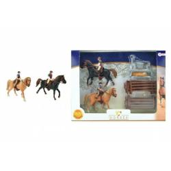 Obrázek Sada kůň 2ks + žokejové s doplňky farma plast v krabici 37x28x5cm