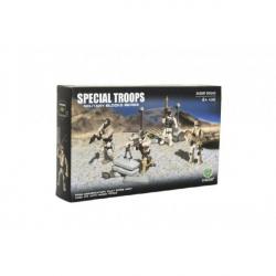 Obrázek Stavebnice vojáci plast Pouštní jednotka 4ks s doplňky v krabici 25x15x5cm