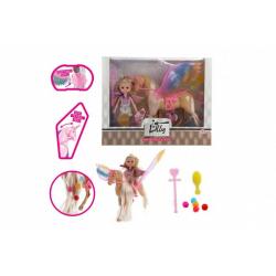 Obrázek Panenka Lilly s jednorožcem česacím  plast 25cm s křídly s doplňky v krabici 30x24x7cm