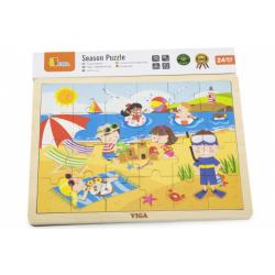 Obrázek Dřevěné puzzle 24 dílků - léto