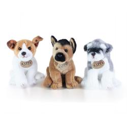 Obrázek plyšový pes 3 druhy, jack russel, kníráč a německý ovčák sedící, 20 cm