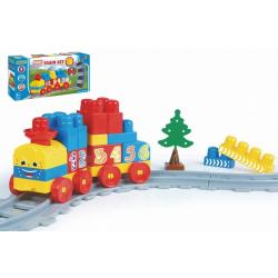 Obrázek Baby Blocks vlak s kolejemi a stavebnicí plast délka dráhy 1,45m s doplňky v krabici 42x21x8cm 12m+