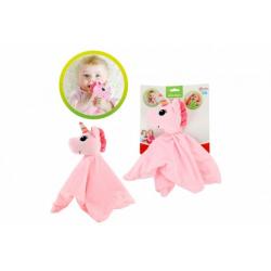 Obrázek Jednorožec usínáček/chrastítko plyš 30x30cm růžový na kartě 0m+
