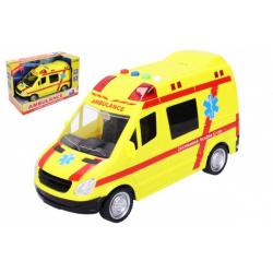 Obrázek Auto ambulancie záchranári plast 21cm na batérie so svetlom a zvukom v krabici 25x17x12cm