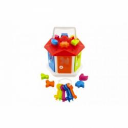 Obrázek Vkládačka domeček plast s klíči se zvířátky v sáčku 19x20x19cm 12m+