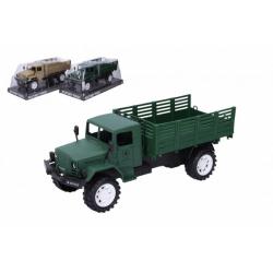 Obrázek Auto vojenské nákladní plast 27cm na setrvačník 2 barvy v blistru 14x32x13cm