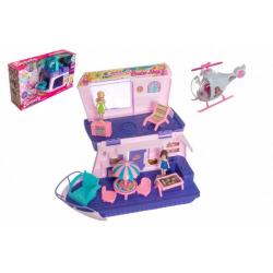 Obrázek Loď pro panenky s panenkami 2ks plast 33cm s helikoptérou s doplňky v krabici 49x29x14cm