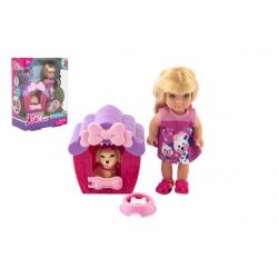 Obrázek Panenka Kiki Anlily kloubová plast 12cm s mazlíčkem v boudě v krabičce 12x16x6cm
