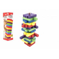 Obrázek Hra věž dřevěná 60ks barevných dílků společenská hra hlavolam v krabičce 7,5x27,5x7,5cm