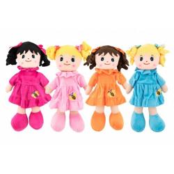 Obrázek Panenka hadrová plyš 30cm 4 barvy v sáčku 0+