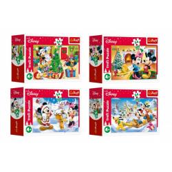 Obrázek Minipuzzle Vánoce s Mickeym 54 dílků 4 druhy v krabičce 9x6,5x3,5cm 40ks v boxu
