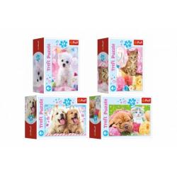 Obrázek Minipuzzle 54 dílků Domácí zvířata 4 druhy v krabičce 9x6,5x4cm 40ks v boxu
