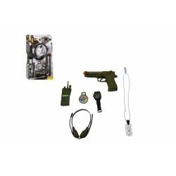 Obrázek Vojenská sada s pistolí klapací 12x20cm plast na kartě 22x37cm